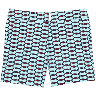 Men Fitted Printed - Fish Net Fitted cut Swim shorts, Frosted blue front
