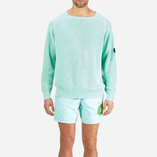 Men Others Solid - Men Cotton Linen Pullover Solid, Lagoon supp1