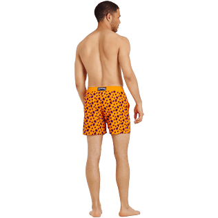 Men Classic Printed - Men Swimtrunks Flocked  Micro ronde des tortues, Safran backworn