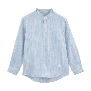 Boys Shirts Graphic - Striped Linen Round collar shirt, Sky blue front