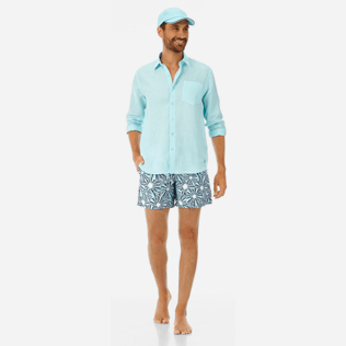 Men Others Solid - Men Linen Shirt Solid, Aquamarine supp2