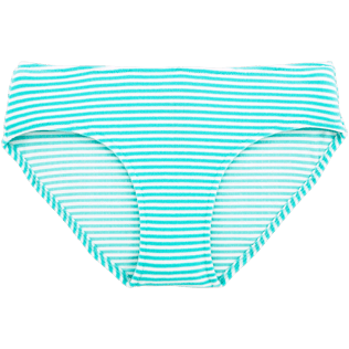 Women Bottoms Graphic - Striped Terry Bikini bottom, Lagoon front