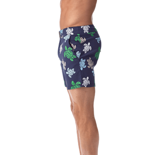 Men Fitted Printed - Multicolor Turtles Fitted cut Swim shorts, Navy supp1
