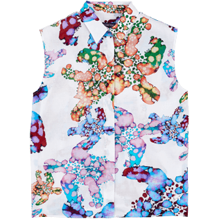 Donna Altri Stampato - Camicia donna in velo di cotone Watercolor Turtles, Bianco front