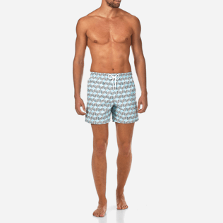 Men Classic Printed - Fishes Cube Swim shorts, Azure frontworn