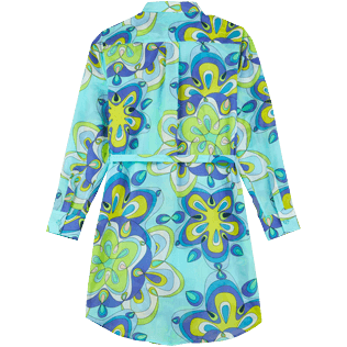 Women Others Printed - Women Cotton Shirt Dress Kaleidoscope, Lagoon back