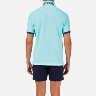 Men Others Solid - Solid Cotton pique polo, Lagoon supp2