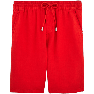 Men Shorts Solid - Men Italian Pockets Linen Bermuda Shorts Solid, Poppy red front