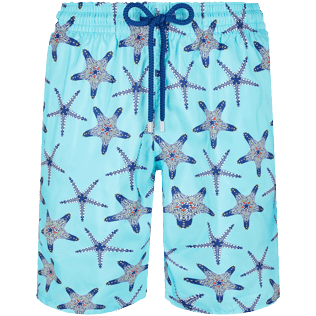 Uomo Classico lungo Stampato - Men Long Ultra-light and packable Swimwear Starfish Dance, Lazulii blue front