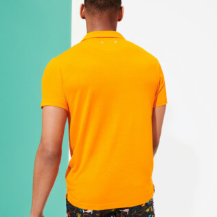 Men Others Solid - Men Tencel Polo Shirt Solid, Apricot backworn