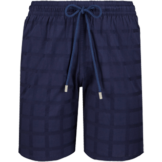 Men Others Graphic - Men Cargo Cotton Bermuda Shorts Carreaux, Navy front