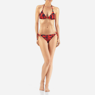 Women Bottoms Printed - Silex Fishes Bikini brief, Poppy red frontworn