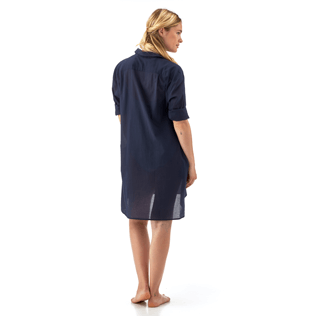 Women Shirts Solid - Long linen shirt, Navy supp7
