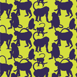 Men Classic Printed - Men Swimwear Flocked Happy Monkey, Chartreuse pattern