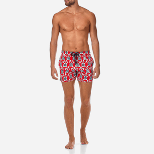 Men Stretch classic Printed - Primitive Turtles Superflex Swim shorts, Poppy red frontworn