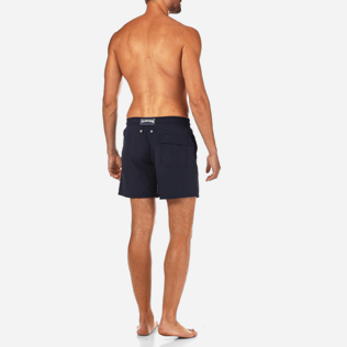 Men Embroidered Embroidered - Prehistoric Fish Placed Embroidery Swim shorts, Navy backworn