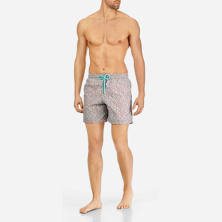 Men Classic Printed - Men Swimtrunks Modernist Fish, Lagoon frontworn