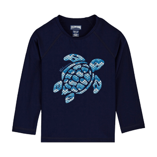 Others Printed - Kids Long Sleeves Rashguard Solid, Navy front