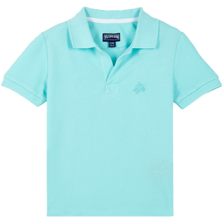 Boys Others Solid - Cotton pique Boys Polo Shirt Solid, Lagoon front