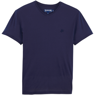 Men Others Solid - Solid V-neck Mercerized cotton T-Shirt, Navy front