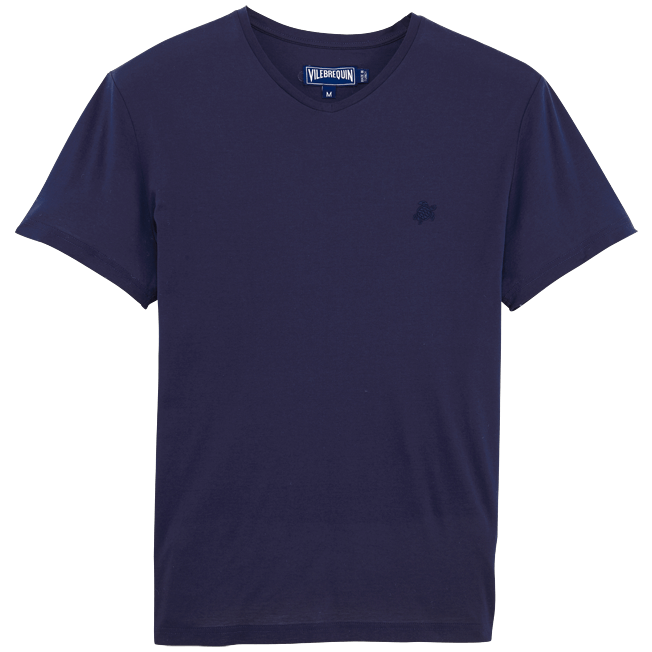 Vilebrequin - Solid V-neck Mercerized cotton T-Shirt - 1