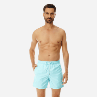 Men Classic Solid - Men Swimwear Solid, Aquamarine frontworn