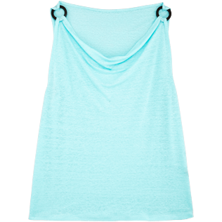 Women Others Solid - Women Cowl neck Linen Jersey Top Solid, Lagoon front