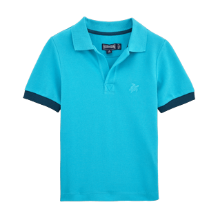 Boys Others Solid - Cotton pique polo, Azure front