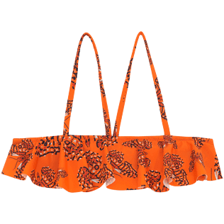 Girls Tops Printed - Butterflies Crop top with large frill, Papaya front