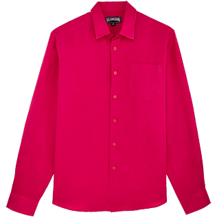 Men Others Solid - Men Linen Shirt Solid, Gooseberry red front