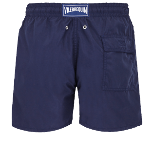 Men Classic Lazercut - Men Swim Trunks Placed embroidery Holi Party, Navy back