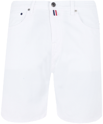 Men Others Solid - Men White 5-Pocket Denim Bermuda Shorts, White front