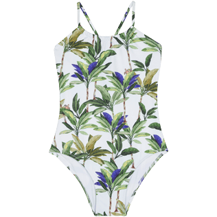 Girls Others Printed - Girls One piece Swimsuit Palms, White front