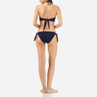 Women Classic brief Embroidered - Blue Breath Embroidered Bikini bottom, Navy backworn