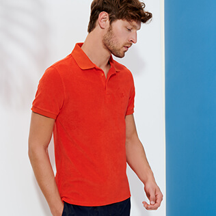 Men Others Solid - Men Terry Cloth Polo Shirt Solid, Medlar supp1