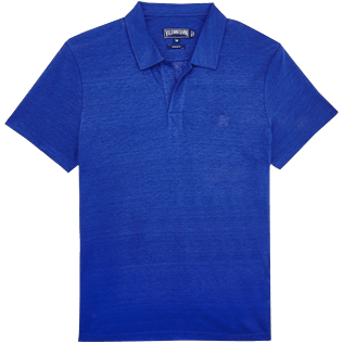 Men Others Solid - Men Linen Jersey Polo shirt Solid, Neptune blue front