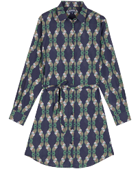 Women Others Printed - Women Cotton Voile Shirt Dress Sweet Fishes, Navy front