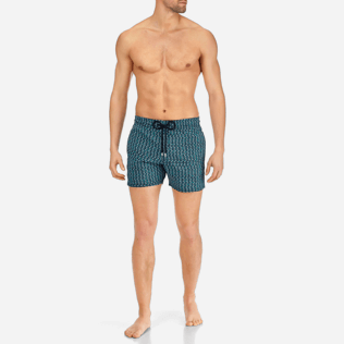 Men Stretch classic Printed - Men Stretch Swimwear Modernist Fish, Navy frontworn