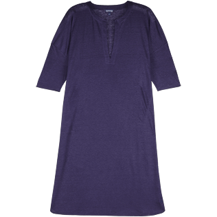 Women Others Solid - Women Long linen jersey Tunic Dress Solid, Midnight blue front