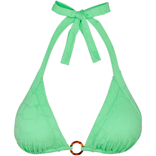 Women Triangle Solid - Women triangle bikini Top Ecailles de Tortue, Aloe front