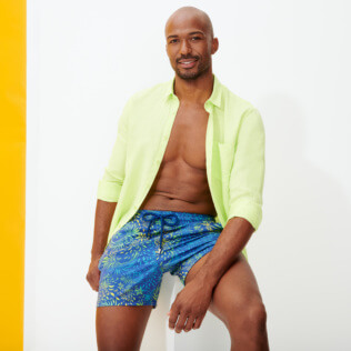 Hombre Clásico stretch Estampado - Men Stretch Swimwear Evening Birds, Batik azul supp1
