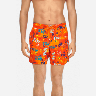 Men Classic / Moorea Embroidered - Men Swimtrunks Printed and Embroidered Sea Sex and Fun - Limited Edition, Kumquat supp1