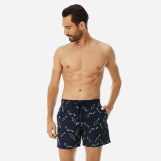 Men Embroidered Embroidered - Men Swimtrunks Embroidered Fish Dance - Limited Edition, Navy frontworn