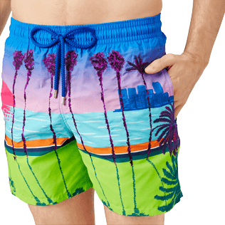 Men Embroidered Embroidered - Men printed and embroidered Swim Trunks Miami - Limited Edition, Sea blue supp1