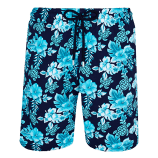 Men Long classic Printed - Men Swim Trunks Long Stretch Turtles Flowers, Navy front