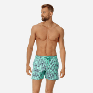 Men Stretch classic Printed - Men Stretch swimtrunks Micro Ronde Des Tortues, Mint frontworn