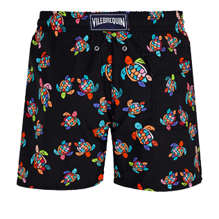 Men Classic Printed - Men Swim Trunks Over the Rainbow Turtles, Black back