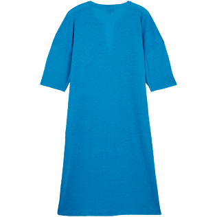 Women Others Solid - Women Linen Beach Cover-up Solid, Hawaii blue back