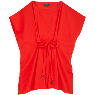 Women Dresses Solid - Solid Cover-up Dress, Poppy red front