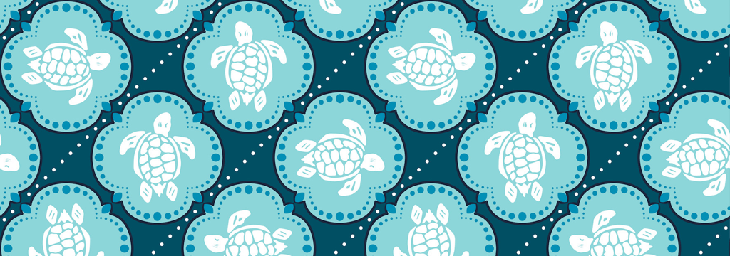 Men Classic Printed - Men Swimwear Wax Turtles, Acqua pattern